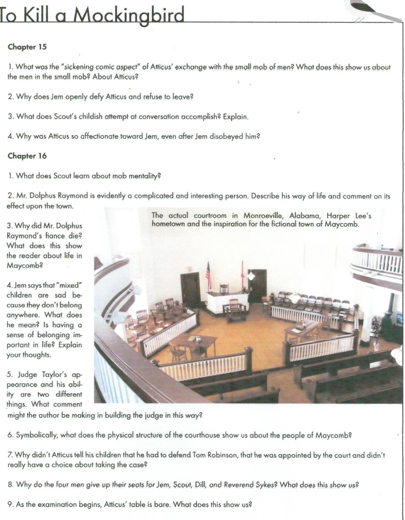 to kill a mockingbird ch 12 17 study questions