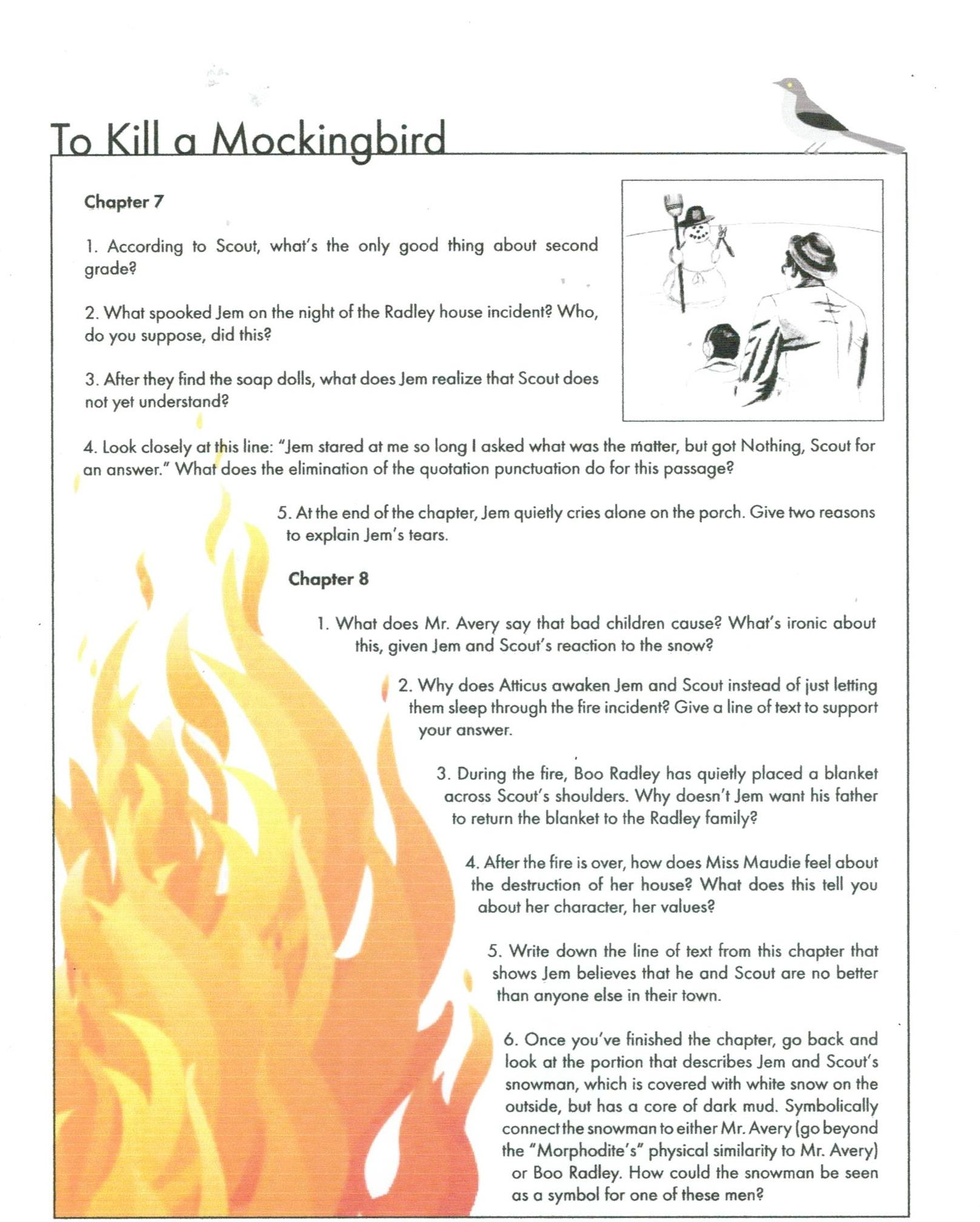 to kill a mockingbird study questions 4 to kill a mockingbird study guide directions: type your first and last name in the upper right hand corner of a word document, then answer the following questions with thought and detail write in complete sentences and incorporate the question into your response.