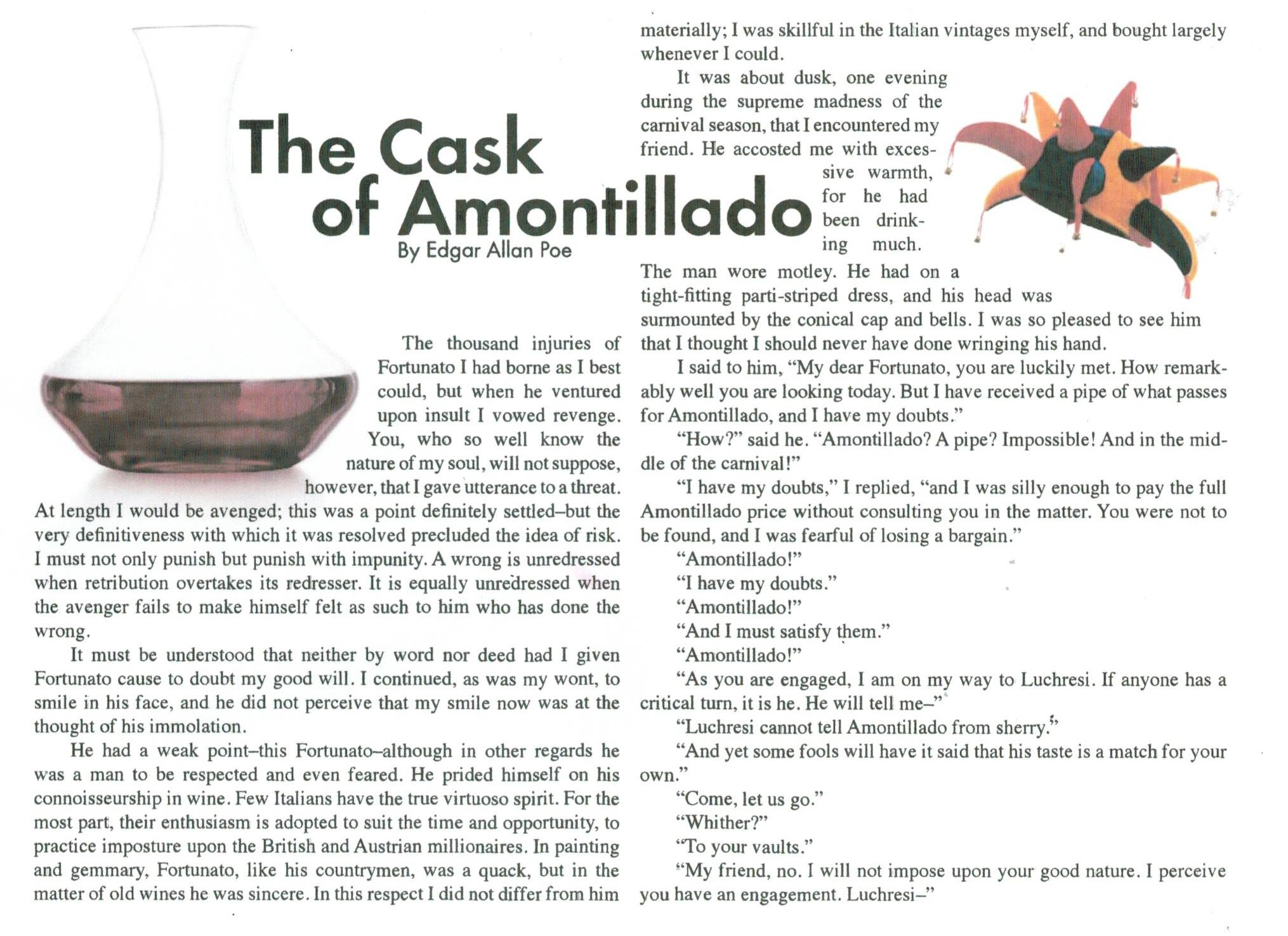 an analysis of punishment with impunity in cask of amontillado by yusra khan I'm retired meloxicam customer reviews boston-based fidelity, in releasing the analysis of 7 million iras on tuesday, said the typical retirement account had held just $52,900 at the end of 2008 as portfolios withered in the stock market rout.