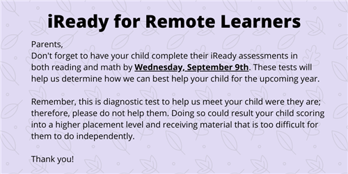 iReady information for remote learners