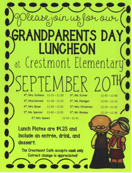 Grandparent's Day  for 3rd - 5th grade