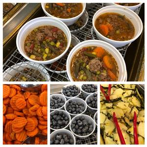 a four section photo montage showing beef stew, cooked carot slices, blueberries in cups and pineapple slices