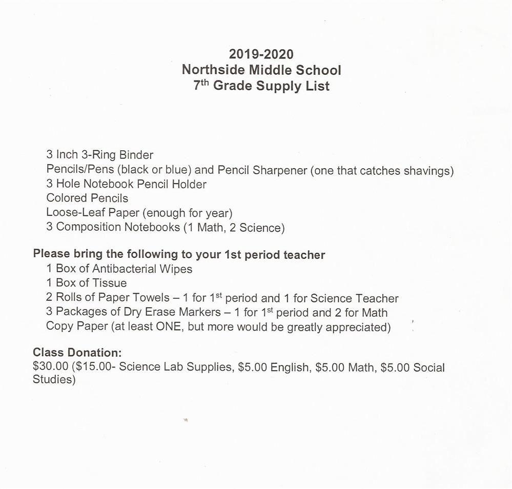 Supply List / 7th Grade