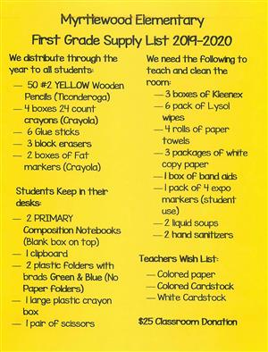 Yellow Background First Grade Supply List