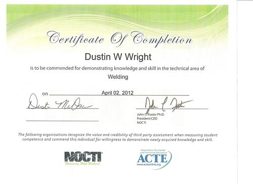Welding - Mr. Wright / NOCTI Certification