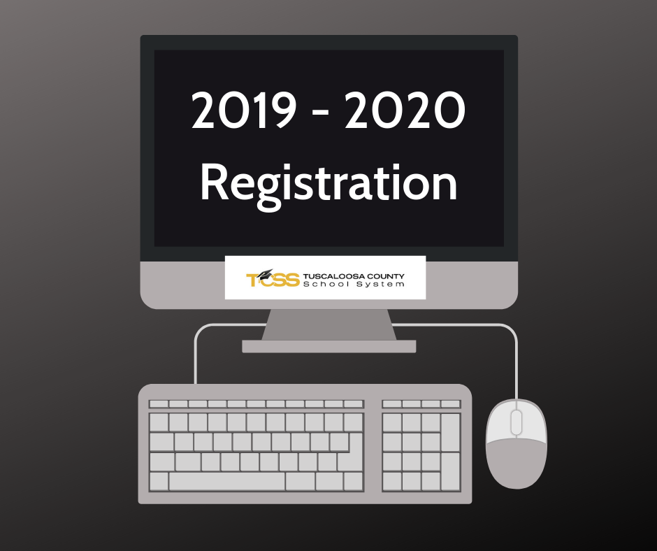 Computer with 2019-2020 Registration displayed on the screen.