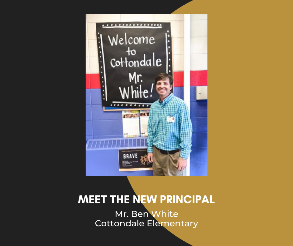 photo of Mr. Ben White, text: Meet the New Principal, Mr. Ben White