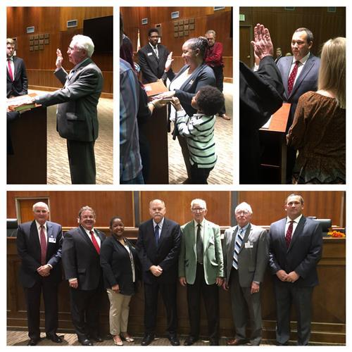 A picture collage of Board members swearing in.