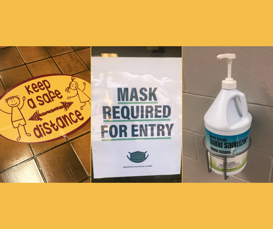 three photos: keep a safe distance sign, mask required for entry sign, container of hand sanitizer