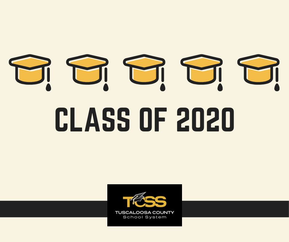graduation caps, text: class of 2020; tcss logo, Tuscaloosa County School System