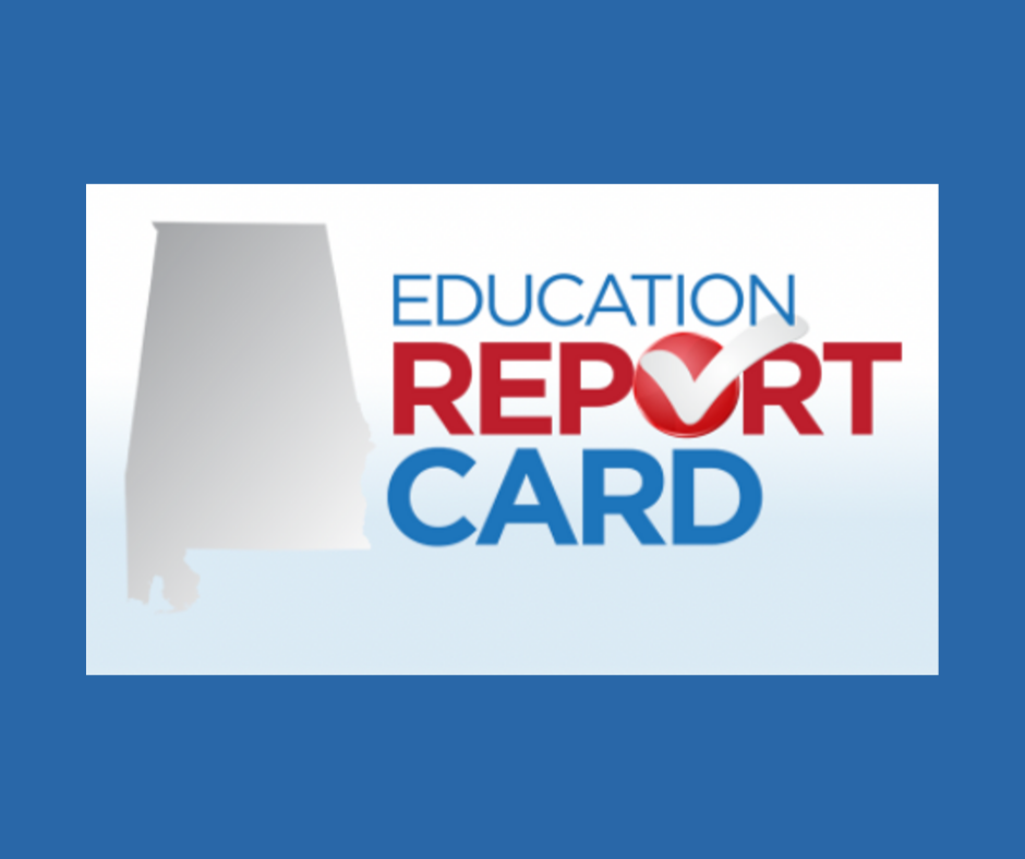 Blue Background with Text: Education Report Card