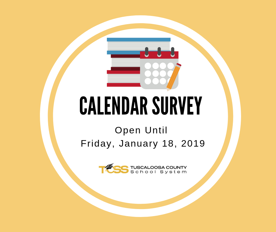Calendar Image with Text: Calendar Survey, Open Until Jan. 18, 2019. TCSS logo.