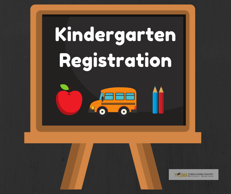 Kindergarten registration with chalkboard, apple, bus and pencils.