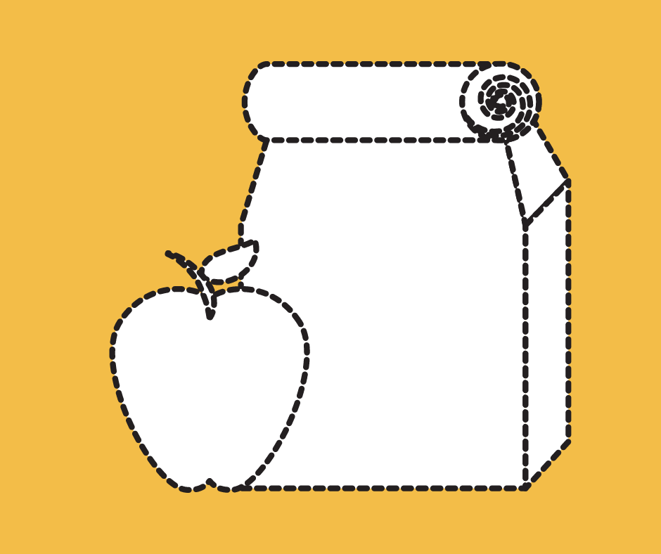 image of school lunch bag and apple