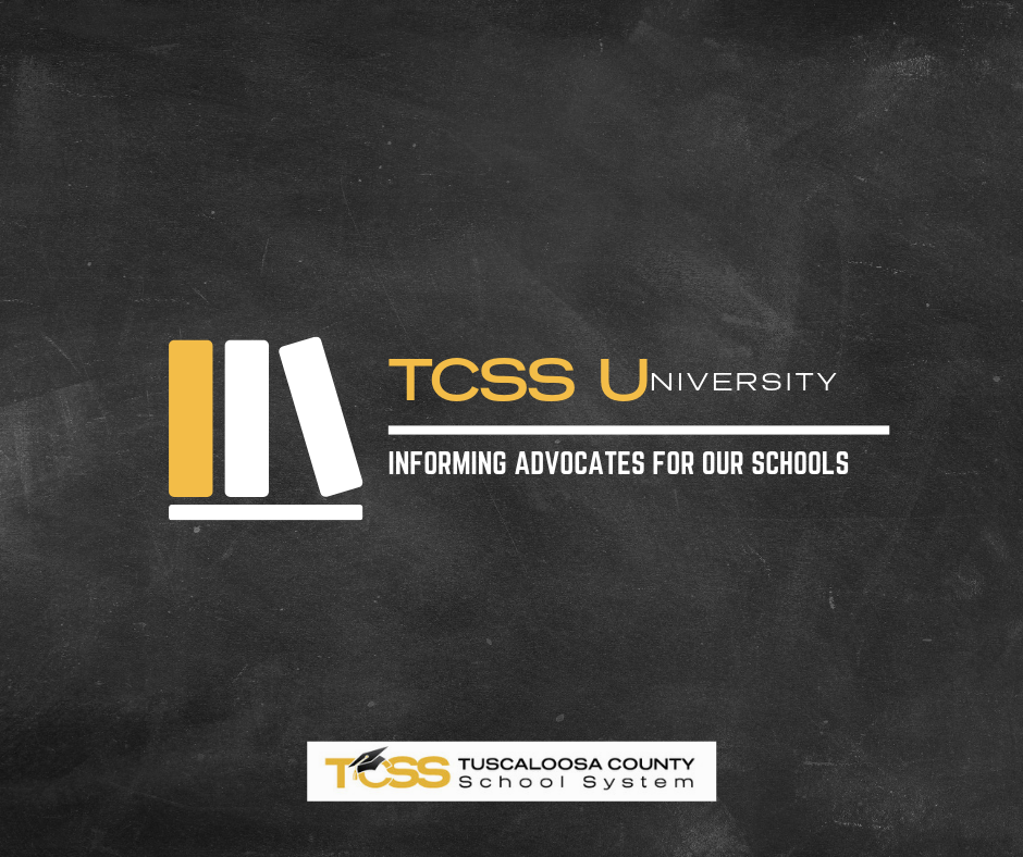 Chalkboard background, books. Text: TCSS University. Informing Advocates for Our Schools.