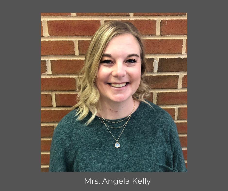 photo of Angela Kelly; text: Mrs. Angela Kelly