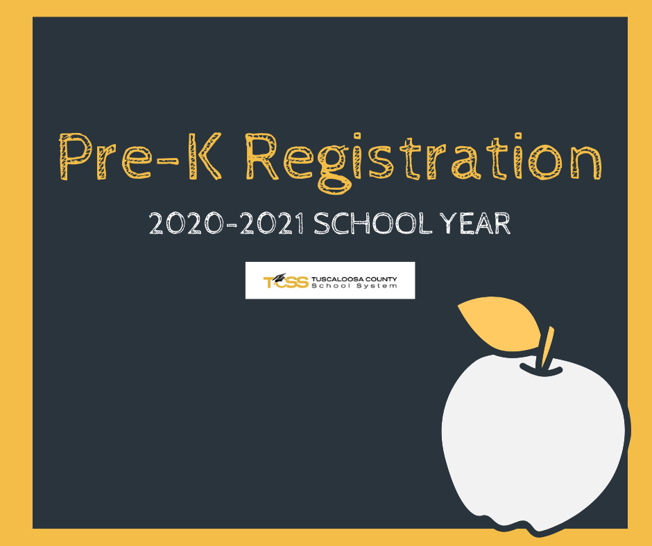 Pre-K Registration, 2020-2021 School Year, TCSS, image of an apple