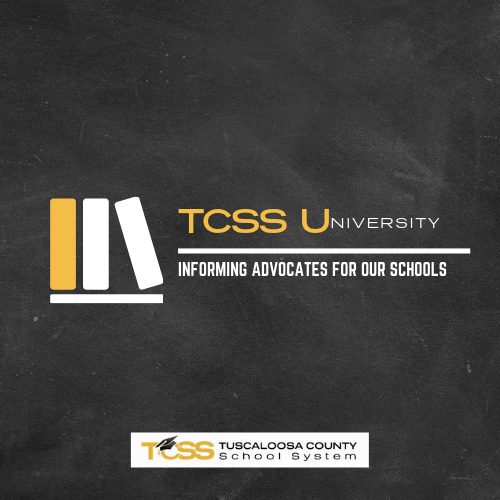 Blackboard background with three books. Text: TCSS University, Informing Advocates for Our Schools.