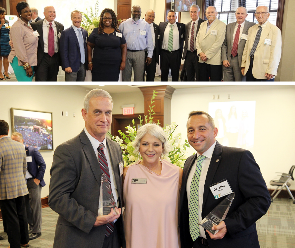 Top: Photo of TCS & TCSS Board Members; Bottom: Dr. Walter Davie, TEF Exec. Director Dr. Terri Boman, Dr. Mike Daria