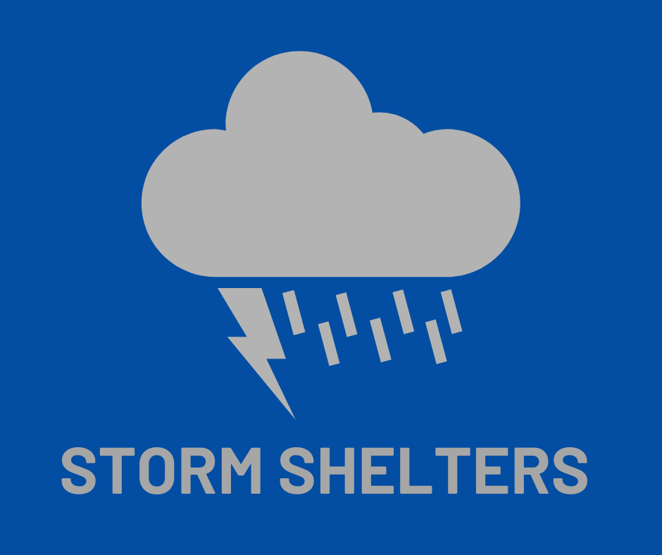 lightning cloud, text: storm shelters