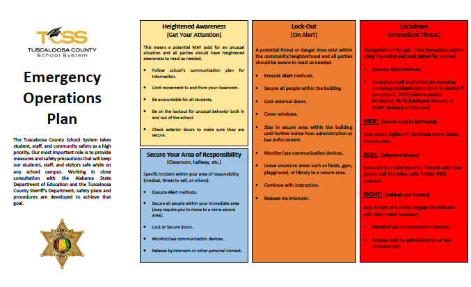 Chart outlining TCSS Emergency Operations Plan. Text of this plan is listed on the page.