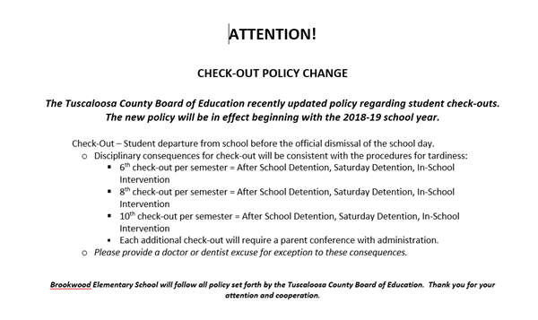 Check out policy