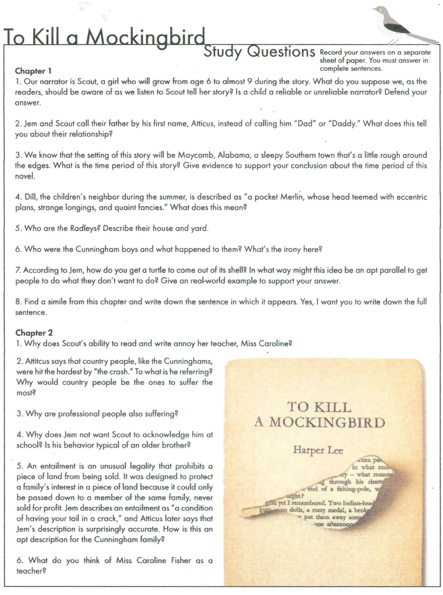 Essay questions for to kill a mockingbird part 1