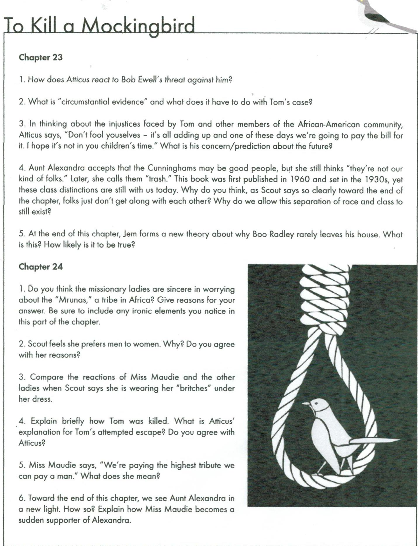 to kill a mockingbird chapter 13 15 study questions Understanding to kill a mockingbird a novel by harper lee, study guides, analyses, critique, reviews, movie, lesson plans, webquests, blacks, racial discrimination contents: about harper lee, character list, short summary, full summary and analysis, summary and analysis of chapter 1-6, 7-12, 13-18, 19-24, 25-31,.