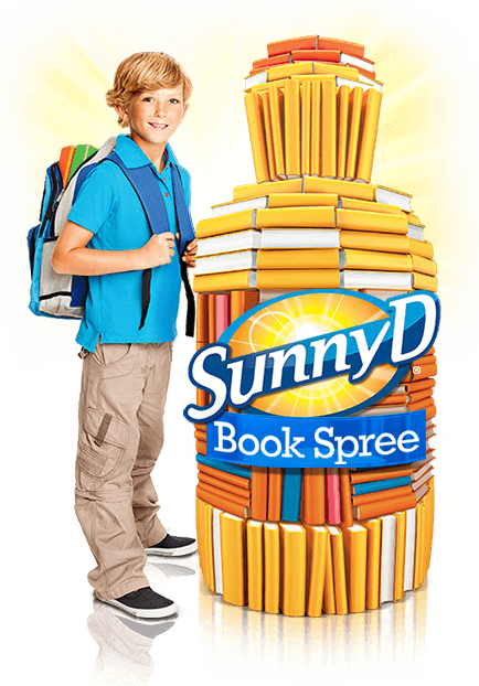 Kid with SunnyD Books