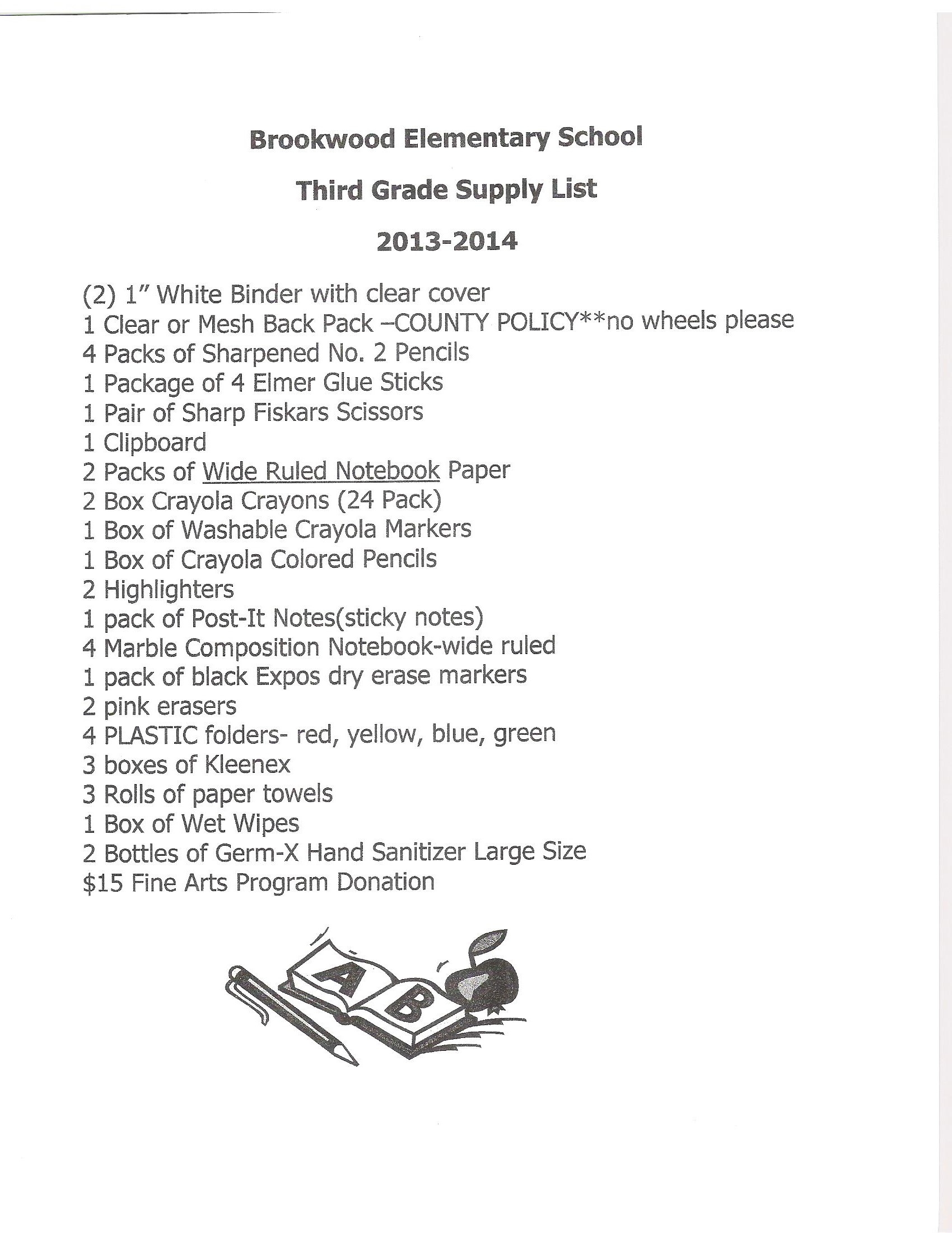 Supply List Supply Lists